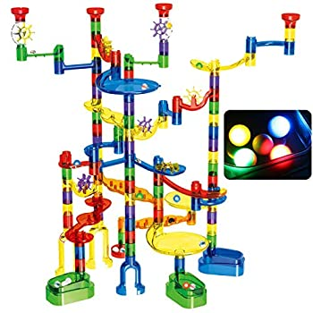 Magicfly Marble Run Set 149 Pcs Marble Race Track Super Set for Kids 3+  4 Light up Marbles+ 107 Pcs Translucent Marbulous+ 6 Glass Marbles+ 32 Pcs DIY Marbles  STEM Learning Toys for Boys and Girls