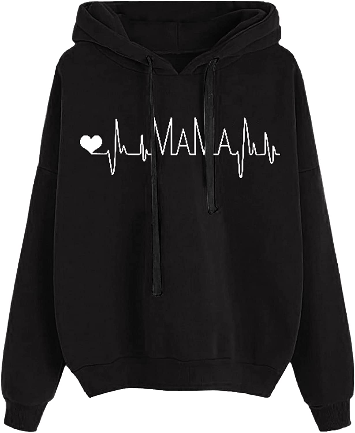Inventory cleanup selling sale HIRIRI Pullover Hoodies for Women Lightweight Po Finally popular brand Heartbeat Print