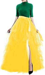TOAH Women's Long Tutu Tulle Skirt A Line Floor Length Special Occasion Night Out fold Skirt