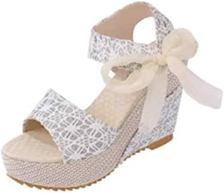 Fulision Female Round Toe Hollow Lace Oxford Sole Flat Increased Wedge Sandals