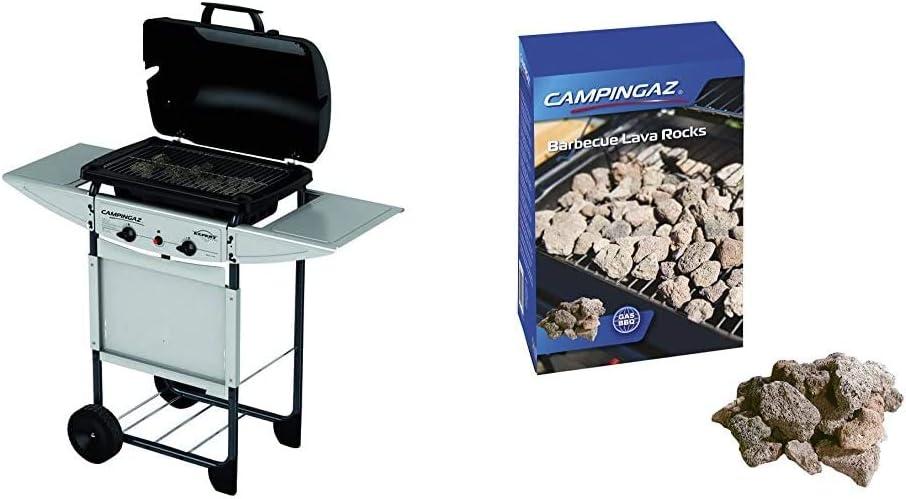 Campingaz Expert Plus Barbacoa gas piedra volcanica, parrilla gas con dos quemadores compactos y quemador lateral + S&M 321771 Regulador de Gas Butano ...