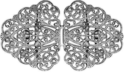 Dirndlschürzenschließe mit Ranken Ornamenten Halbrund - Silber - Trachtenschnalle Dirndlschürzenverschluss Schürzenklammer