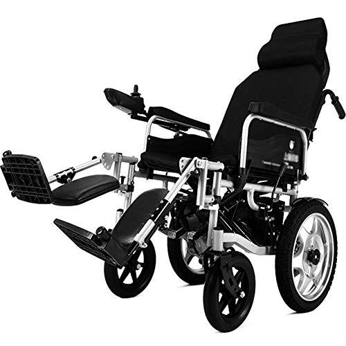 Silla de ruedas eléctrica para trabajo pesado con reposacabezas, silla eléctrica portátil plegable y liviana con cinturón de seguridad, manipulación eléctrica o manual, respaldo ajustable y pedal Sil