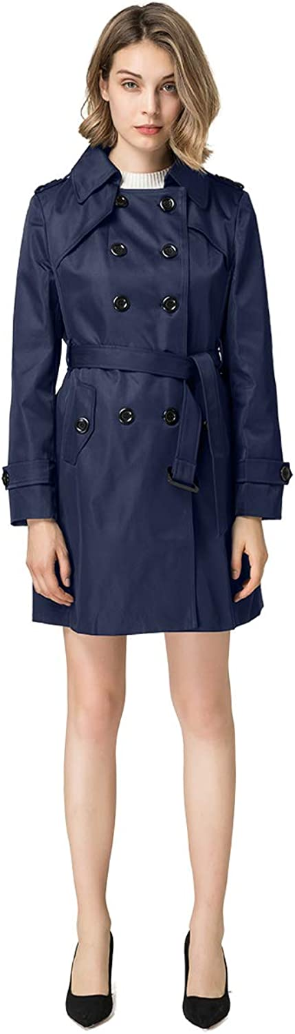 Blostirno Women's Notched Lapel Long Jacket Double Breasted Mid Length Trench Coat Belt