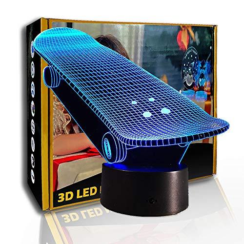 JINYI Kreatives Skateboard für 3D-Nachtlicht, LED-Illusionslampe, Raumlampe, B - Remote Black Base (7 Farben), Visuelle Lampe, Weihnachtsgeschenk, Schlaflampe, Kindergeschenk