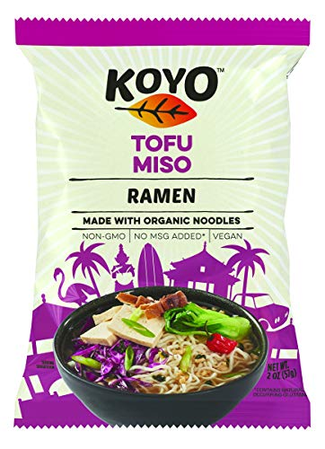 Koyo Ramen Soup, Tofu Miso Ramen, Made With Organic Noodles, No MSG, No Preservatives, Vegan, 2 Ounces Per Package