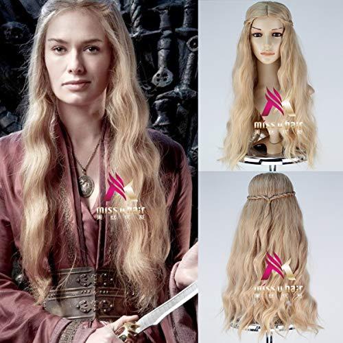 LJYNB Juego de tronos Cersei Lannister Peluca Cabello dorado Reina Cersei Rubio claro Disfraces de cabello sinttico con redecilla