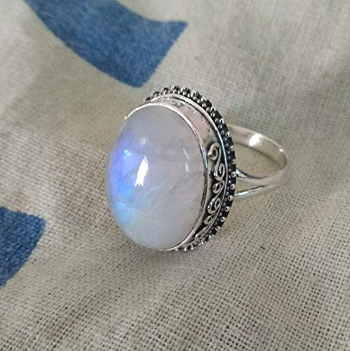 Sterling Silver Ring June Birthstone Ring Daily wear Ring Unisex Moonstone Ring Cabochon Cut White stone ring Natural Moonstone Ring