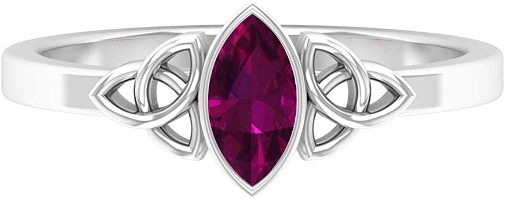 Marquise Solitaire Ring, Bezel Rings for Women, Celtic Knot Ring 14K White Gold