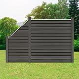 ML-Design WPC Sichtschutzzaun Komplettset, 1x Quadratelement 170x175 cm, 1x Schrägelement 90x95-175x1,9 cm, 3x Pfosten, Grau, robust, zum aufschrauben, WPC-Zaun Gartenzaun Steckzaun Windschutzzaun