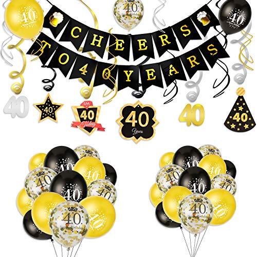 HOWAF 40. Geburtstag deko, Cheers zum 40. Geburtstag Banner und Deckenhänger Spiral Girlanden, 25 schwarz und Gold Luftballons Konfetti Ballons für Männer und Frauen 40. Geburtstags Party Dekoration