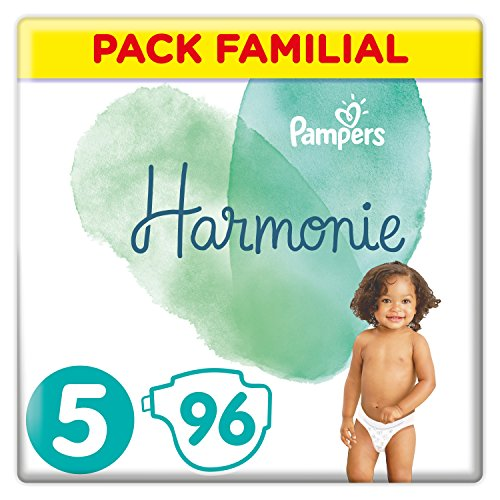 Couches Pampers Taille 5 (11-16 kg) - Harmonie Couches, 96 couches, Pack Familial