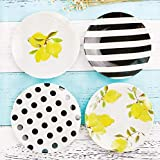 NAMA 4Pcs Sets Placas de melamina de plástico Placas de cerámica de imitación Tira de Puntos Color Moderno Platos de Cena de Navidad Plato antichoque Cuatro Piezas un Juego