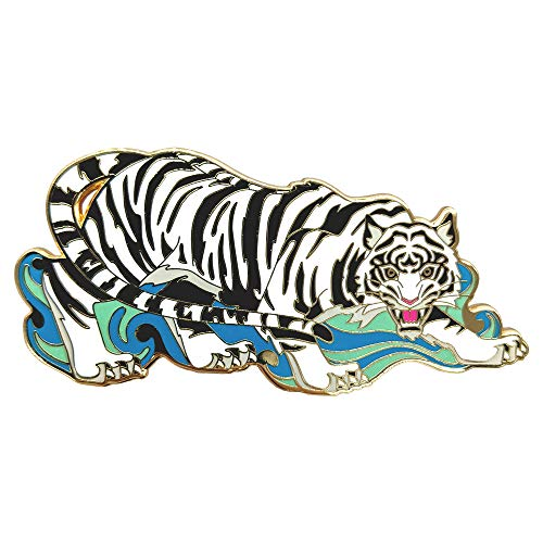 The White Tiger Enamel Pin, Chinese, Japanese Mythology Pin, Limited Numbered First Edition