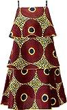 Shenbolen Women African Print Dress Cake Dress Female Strap Dress(B,Medium)