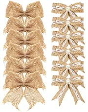 Aokbean Pack de 12 Arcos de decoración de Bodas Arbol de Navidad Topper Bow Decoración rústica Arpillera(Mixto 1)