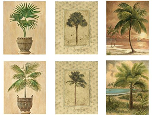 Beach Palm Tree Vintage Posters - Set of Six 8 x 10 Wall Posters by Wallsthatspeak