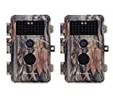 [2021 Upgrade] 2-Pack Game Trail Hunting Deer Cameras 20MP Full HD 1920x1080P H.264 MP4 Video with Night Vision No Glow Motion Activated 0.5S Trigger Waterproof and Password Protected & Video Model