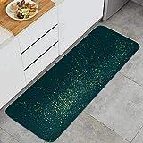 Cocina Antideslizante Alfombras de pie Vector de Salpicaduras de Polvo de Brillo Dorado Esmeralda Decoración de Piso Confortables para el hogar, Fregadero, lavandería-120cm x 45cm