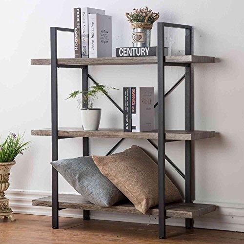 HSH 3-Shelf Bookcase, Rustic Bookshelf, Vintage Industrial Metal Display and Storage Tower, Gray Oak