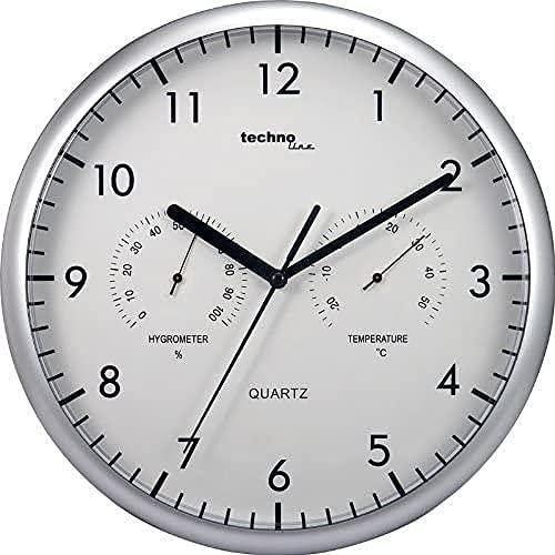 Technoline Wt 650 - Reloj de Pared con Termómetro Y Medidor de Humedad, plata