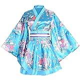 HongH Kimono Bathrobe Costume Japanese Traditional Yukata Cosplay Women's Sexy Sakura Pattern (Blue), Large