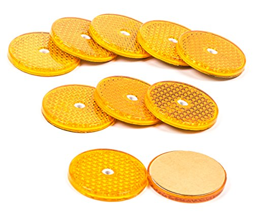 All Ride Reflektor Rund 62 mm,10 Stück Katzenaugen sebstklebend oder zum Schrauben, Farbe gelb