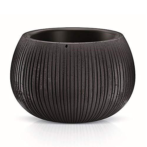 Prosperplast - Vaso per piante design 2 in 1 simile al cemento, vaso per piante rotondo in plastica