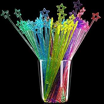 100 Pieces 9.1 Inch Star Top Swizzle Sticks Disposible Plastic Star Top Crystal Swizzle Sticks  Multicolor