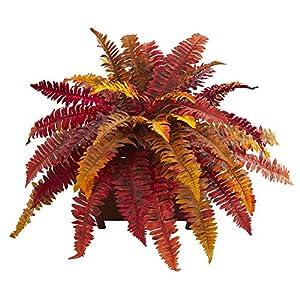 Silk Flower Arrangements Nearly Natural Autumn Boston Fern Artificial Planter Silk Plants, Red/Orange