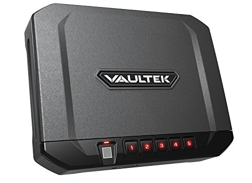 Vaultek VT10i Lightweight Biometric Handgun Safe Bluetooth Smart Pistol Safe with Auto-Open Lid and Rechargeable Battery (Titanium Gray)