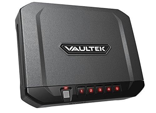 Vaultek 10 Series Lightweight Handgun Bluetooth Smart Safe Pistol Safe with Auto-Open Lid and Rechargeable Battery (Not Compatible with Smart Key) (Biometric (Titanium Gray))