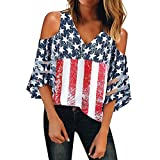 Oxodoi Womens T-Shirts 4th of July American Flag Prints V-Neck Mesh Panel Blouse 3/4 Bell Sleeve Cold Shoulder Tops Shirts