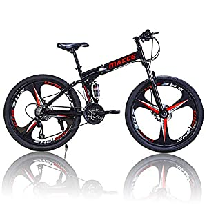 Folding Bikes NORSENS Mountain Bike, Adult 26 Inch Mountain Bike, Double Disc Brake Bicycles, Foldable Frame 25.6 Inch Spoke Wheels