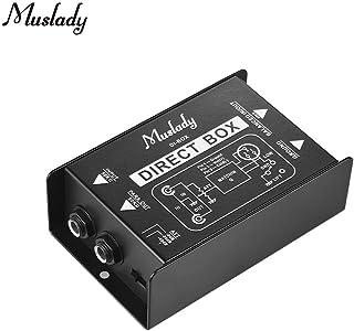 Muslady Caja de Audio Pasiva de Inyección Directa DI-Box Un Canal Solo Convertidor de Sñal Balanceado y Desequilibrado con Interfaces XLR TRS para Guitarra Eléctrica Bajo Rendimiento en Vivo