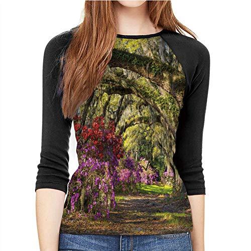 Charleston SC Spring Bloom Azalea Flowers South C Plantation Garden Azalea,Fashion Women's Fitness Print Casual T-S