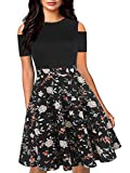 oxiuly Women's Casual Pockets Floral Flare Work Party Swing Midi Casual Summer Dress OX266 (XL, Bk-Floral)