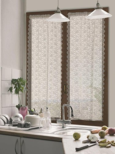 Home Collection TCDEB116/240 Tendina Coppia Debby, Poliestere, Naturale, 60x240 cm, 2 Unità