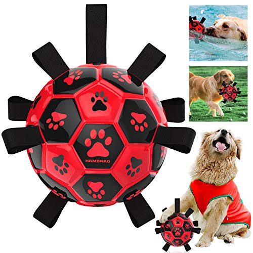HAMBNAG Dog Soccer Ball with Grab Tabs, [Interactive Dog Ball with Nylon Grabber Handle] [Large Durable Pets Ball Toy] for Water Beach Grass Outdoor, Dog Ball for Medium & Large Breed (Red-7.5 inch)