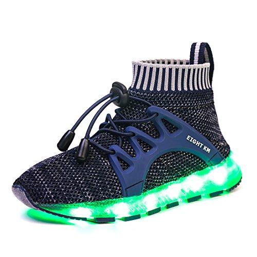 EIGHT KM EKM7016 Niños y Niñas Light Up Zapatos con Carga USB LED 7 Colores de Luces Zapatillas Azul Oscuro 28