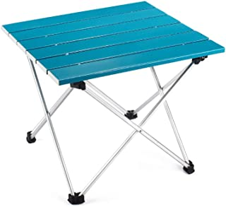 Outry Lightweight Aluminum Folding Table, Portable Camp Table, Outdoor Picnic Camping Backpacking Beach Patio Collapsible Foldable Table (Blue, Small - Unfolded: 15.6