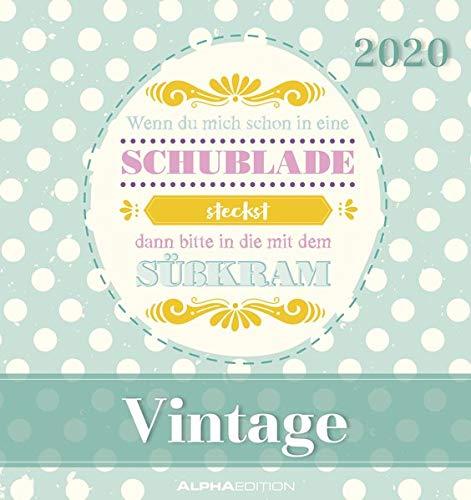 Vintage 2020 - Postkartenkalender (16 x 17) - zum aufstellen oder aufhängen - Geschenkidee - Sprüche-Kalender - Gadget
