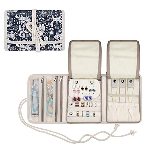 Teamoy Travel Jewelry Roll, Jewelry Storage Bag Organizer for Necklaces, Earrings, Bracelets, Rings, Brooches and More, Compact and Easy to Carry, Animal World