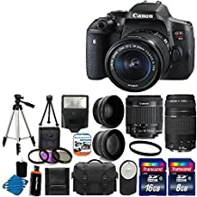 Canon EOS Rebel T6i 24.2MP Digital SLR Camera Bundle with Canon EF-S 18-55mm f/3.5-5.6 IS STM [Image Stabilizer] Zoom Lens & EF 75-300mm f/4-5.6 III Telephoto Zoom Lens and Accessories (18 Items)