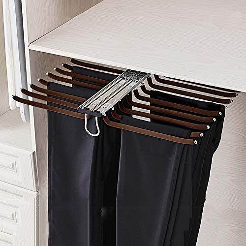 Perchero extraíble para pantalones, perchero elástico de 18 brazos, perchero para corbatas/perchero para bufandas/toallero montado en la parte superior, con varilla de flocado, profundidad 38