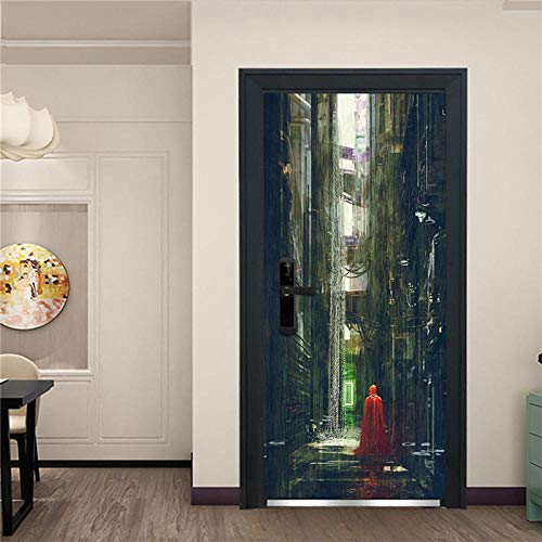3D Door Mural Art Sticker Red Clothes On The Trail 3D Door Sticker Home Decoration Self-Adhesive PVC Stickers