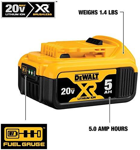 DewaIt 20V Max XR 20V Battery, 5.0-Ah, 2-Pack (DCB205-2)