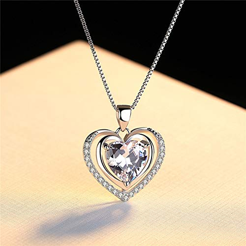 NNNDNDN Fashionable Handmade Rhinestone Pendant Cubic Zirconia Sterling Silver 925 Jewlery Heart Crystal Necklace For Wedding Party|Pendants