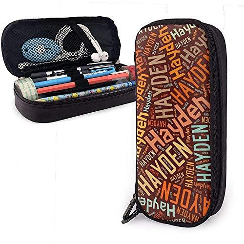 Hayden American Surname High Capacity Leather Pencil Case Pencil Pen Holder Large Storage Pouch Box Organizer School Marker Pen Student Bag