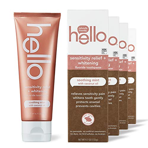 hello Sensitivity Relief Toothpaste for Sensitive Teeth With Fluoride + Vegan, Sls Free Whitening, Soothing Mint & Coconut Oil, 18.8 Oz, 4 Count